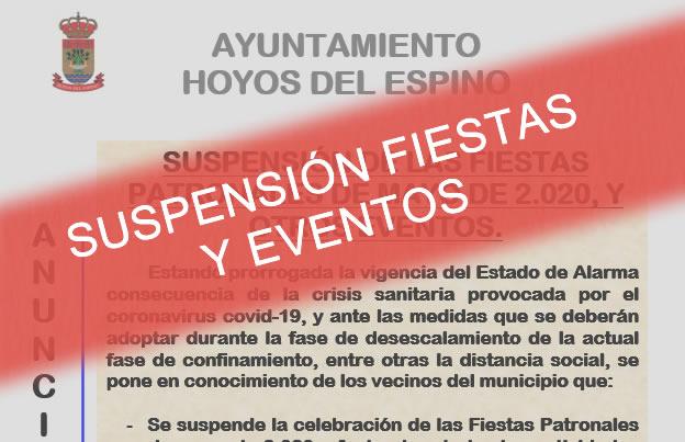 Suspensión de las fiestas patronales de mayo de 2020, y otros eventos