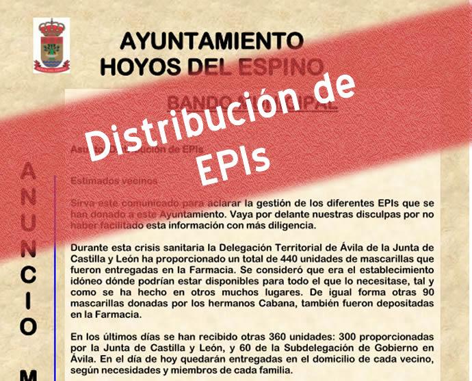 Distribución de EPIs