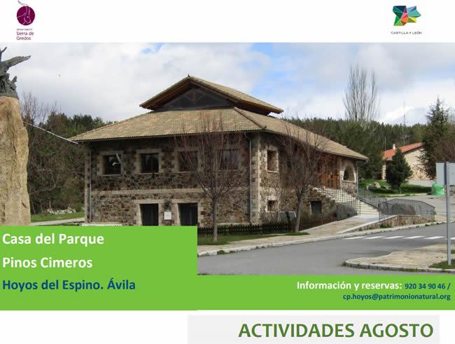 """Actividades en Agosto – Casa del Parque """"Pinos Cimeros"""""""