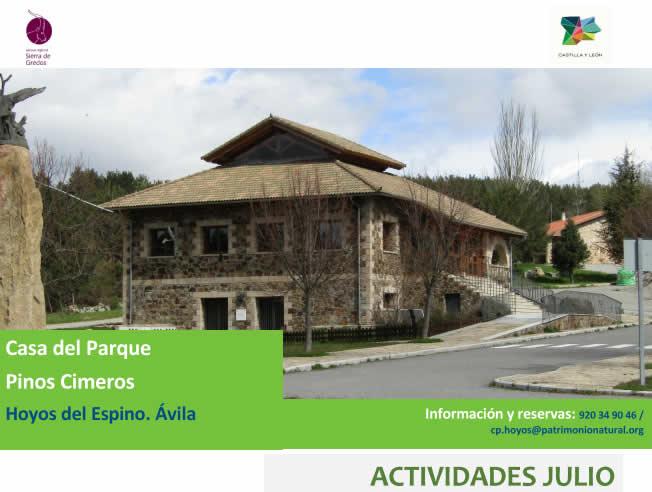 """Actividades en Julio – Casa del Parque """"Pinos Cimeros"""""""