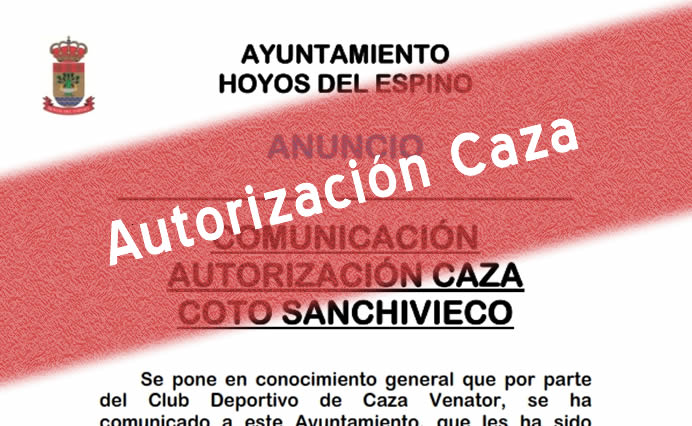 Autorización caza Coto Sanchivieco