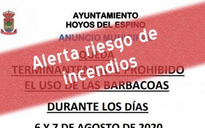 Prohibido Barbacoas alerta riesgo incendio