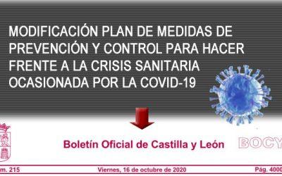 Modificación Plan de Medidas prevención y control por la Covid-19
