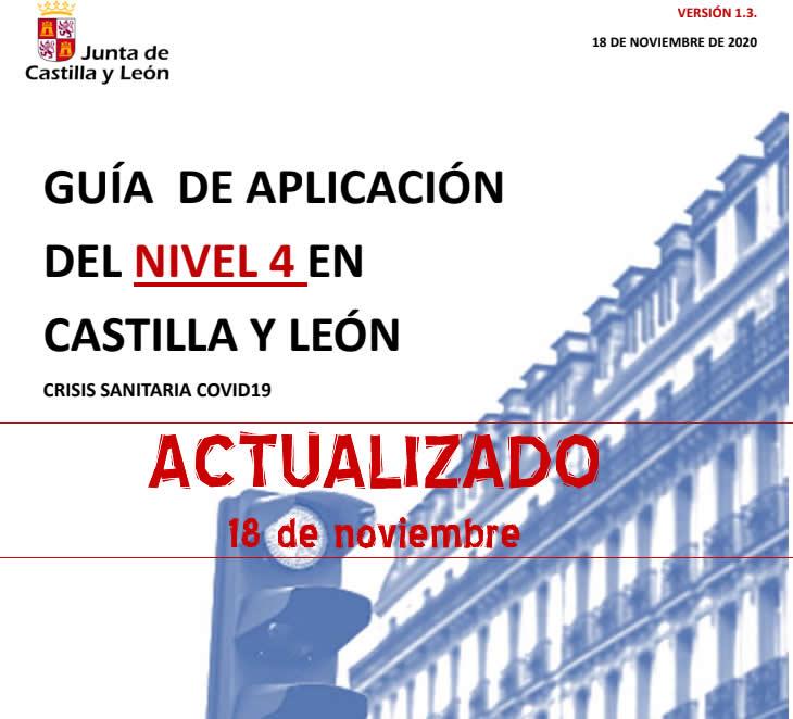 ACTUALIZACIÓN 18/11/20 Guía de Aplicación del Nivel 4 por Covid-19